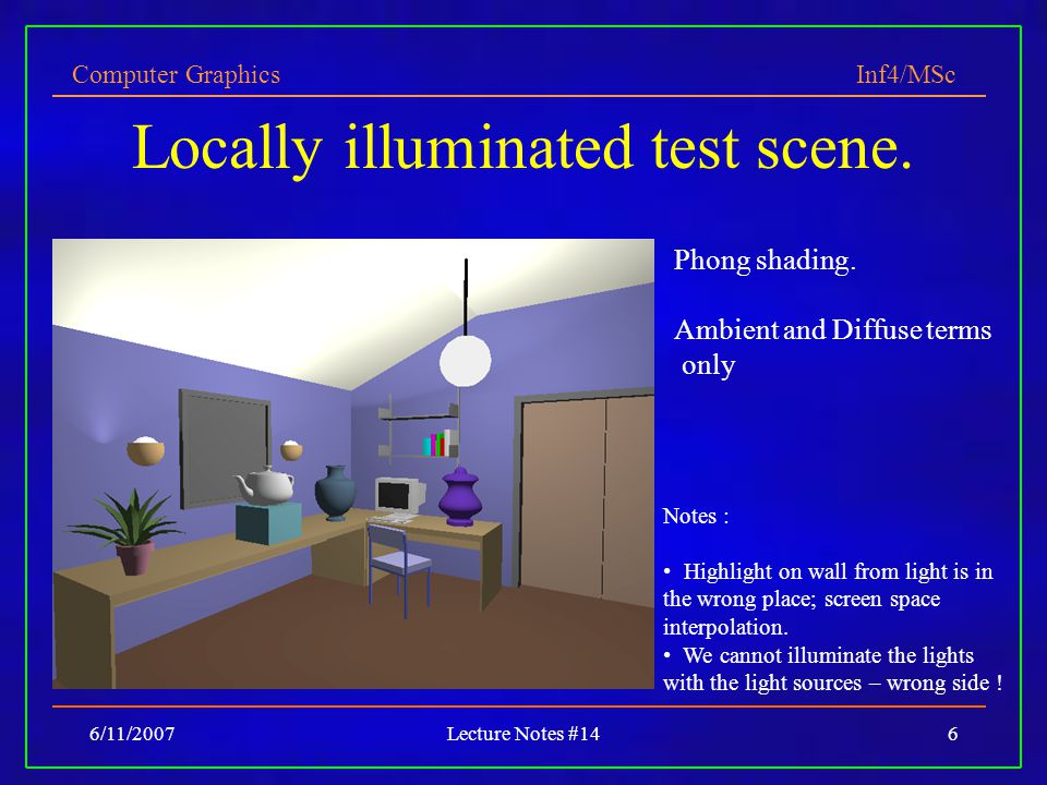 Locally illuminated test scene.