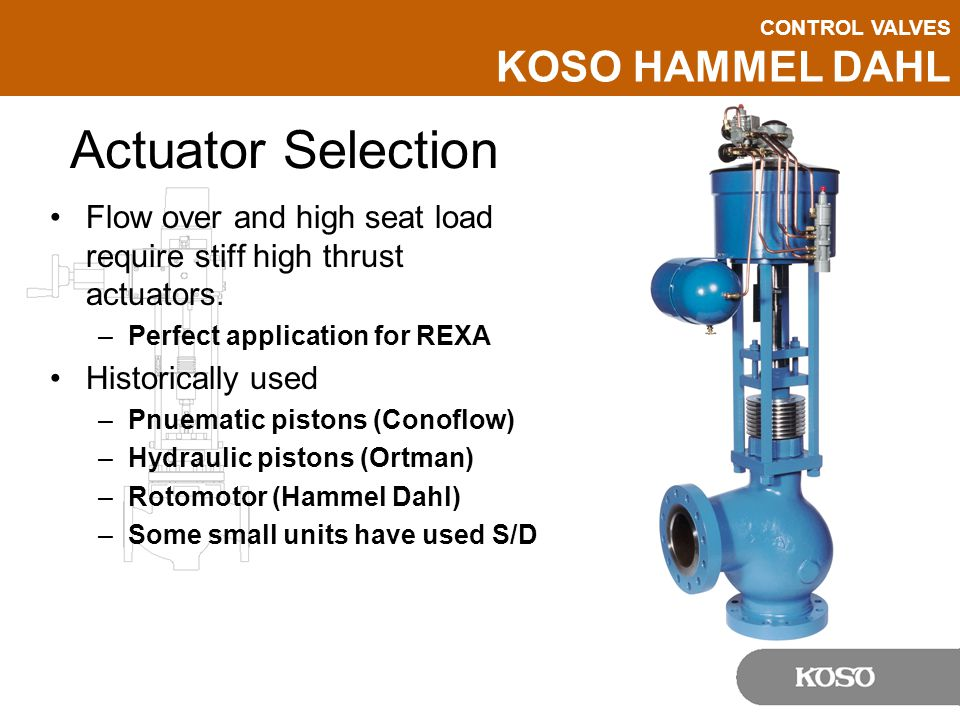 Actuator Selection Flow over and high seat load require stiff high thrust actuators. Perfect application for REXA.