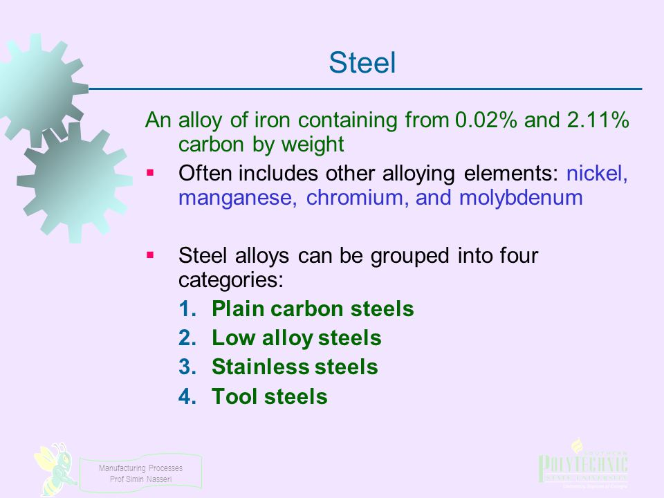 Steel An alloy of iron containing from 0.02% and 2.11% carbon by weight.