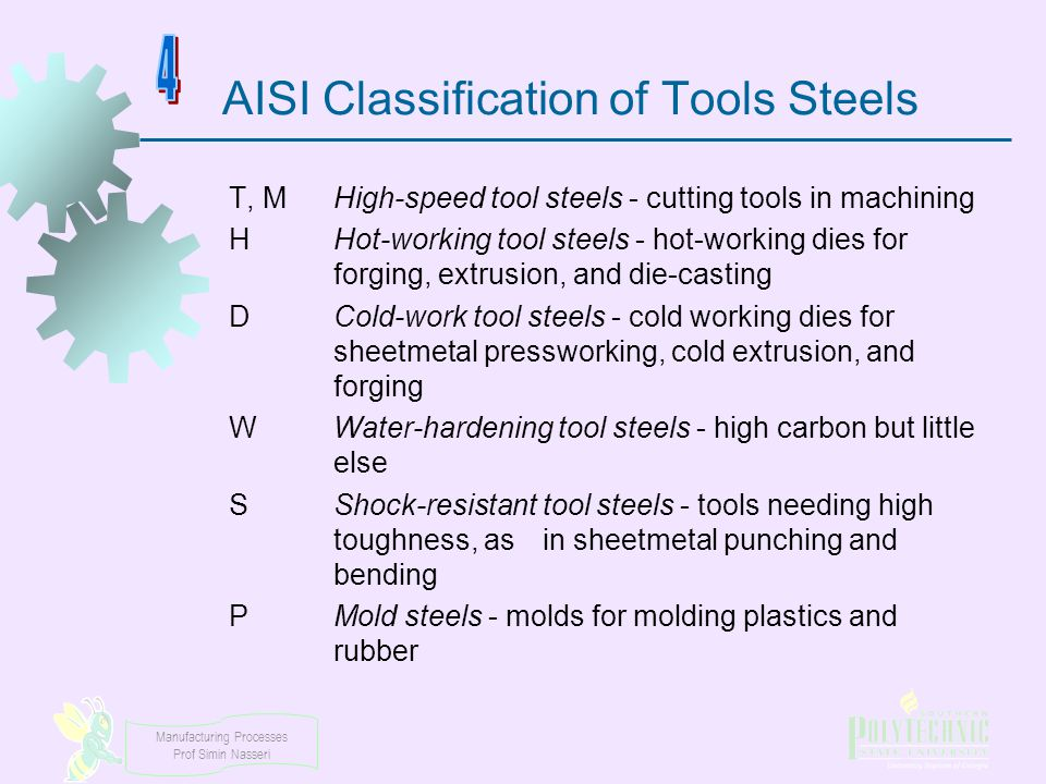 AISI Classification of Tools Steels