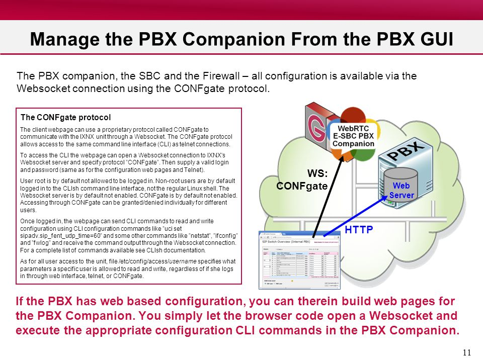Manage the PBX Companion From the PBX GUI