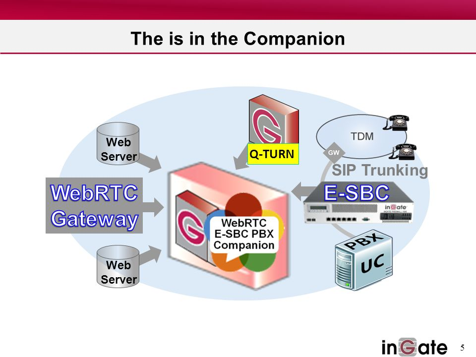 E-SBC WebRTC Gateway The is in the Companion SIP Trunking Q-TURN