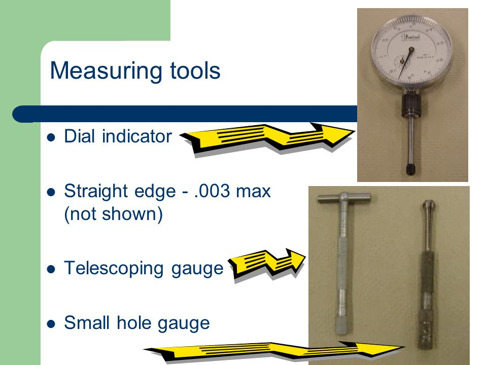 Measuring tools Dial indicator Straight edge - .003 max (not shown)