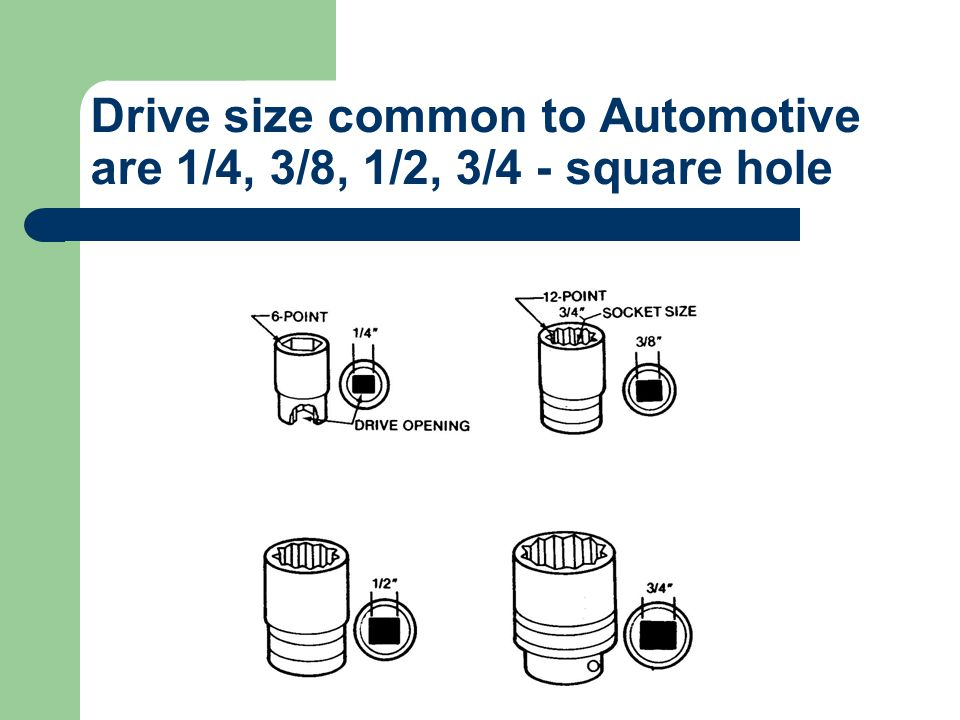 Drive size common to Automotive are 1/4, 3/8, 1/2, 3/4 - square hole