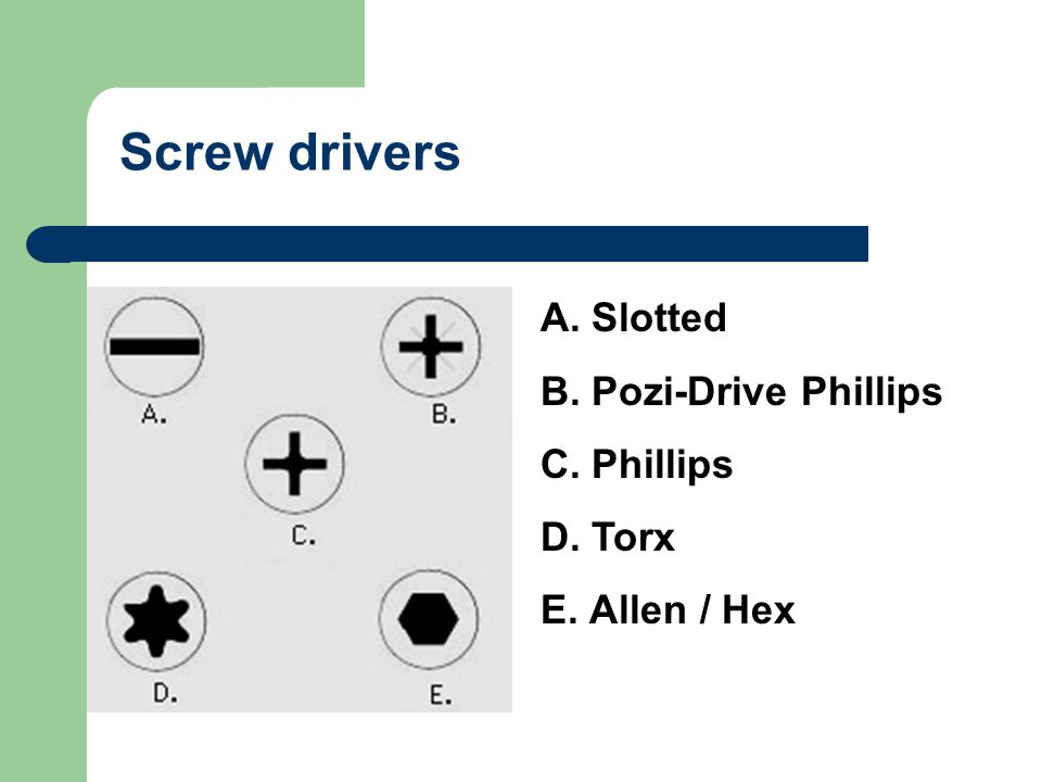 Screw drivers Slotted Pozi-Drive Phillips Phillips Torx Allen / Hex