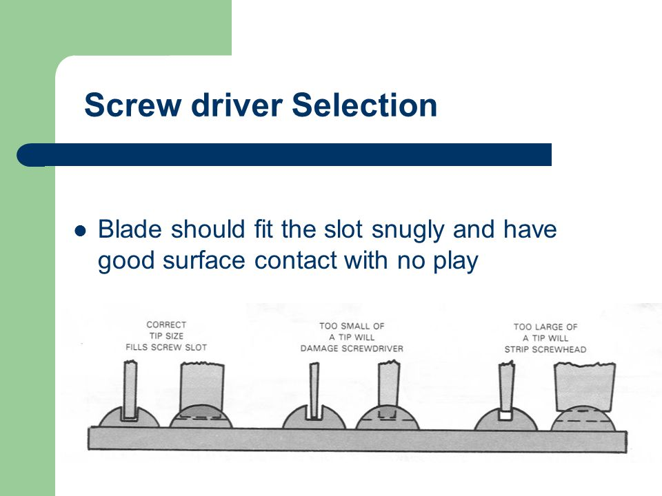 Screw driver Selection
