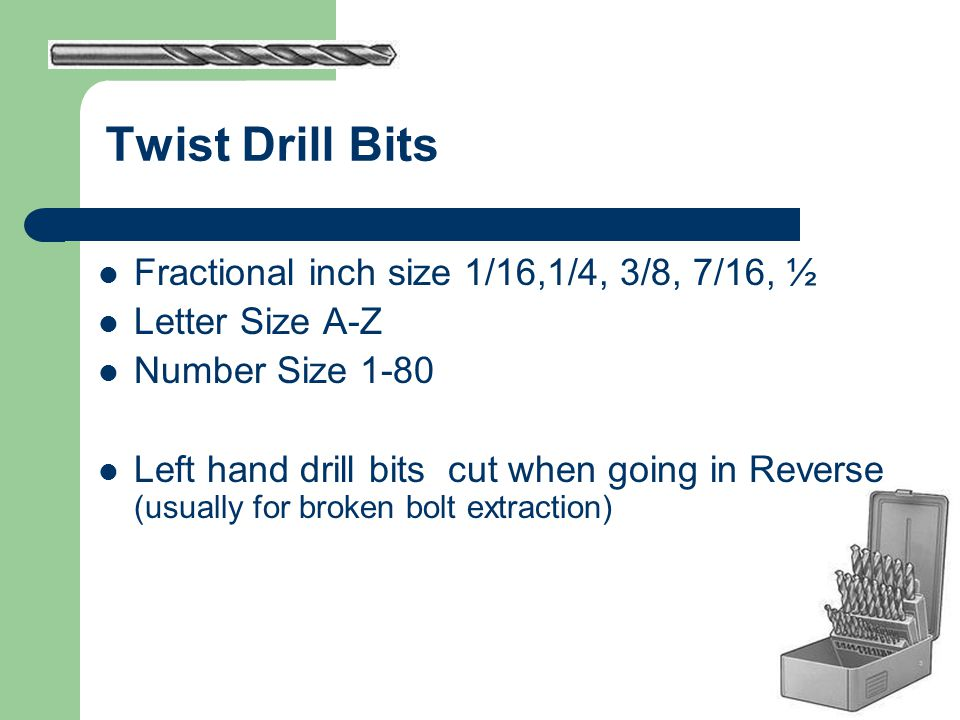 Twist Drill Bits Fractional inch size 1/16,1/4, 3/8, 7/16, ½