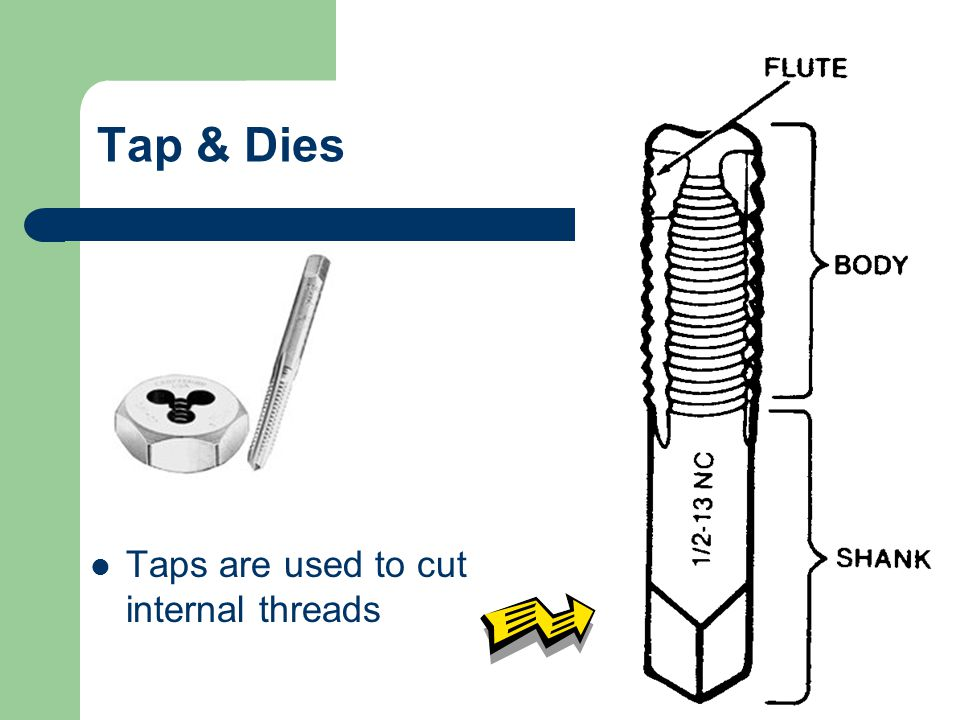 Tap & Dies Taps are used to cut internal threads
