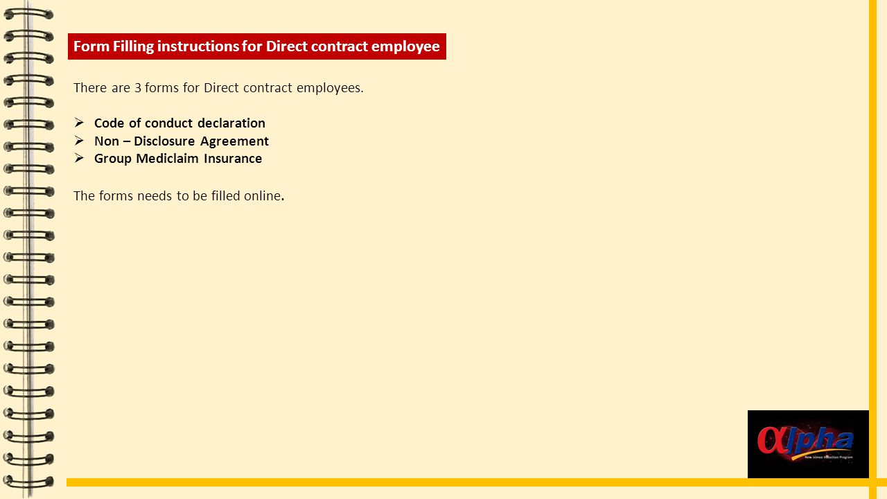 Form Filling instructions for Direct contract employee