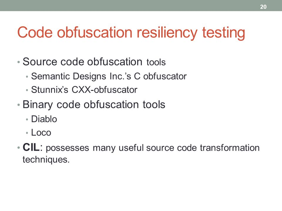Code obfuscation resiliency testing