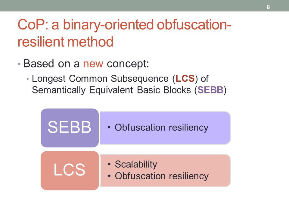 CoP: a binary-oriented obfuscation-resilient method