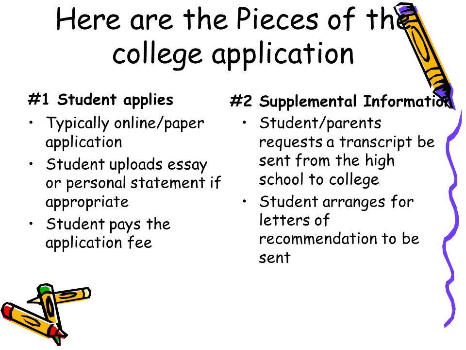 Here are the Pieces of the college application
