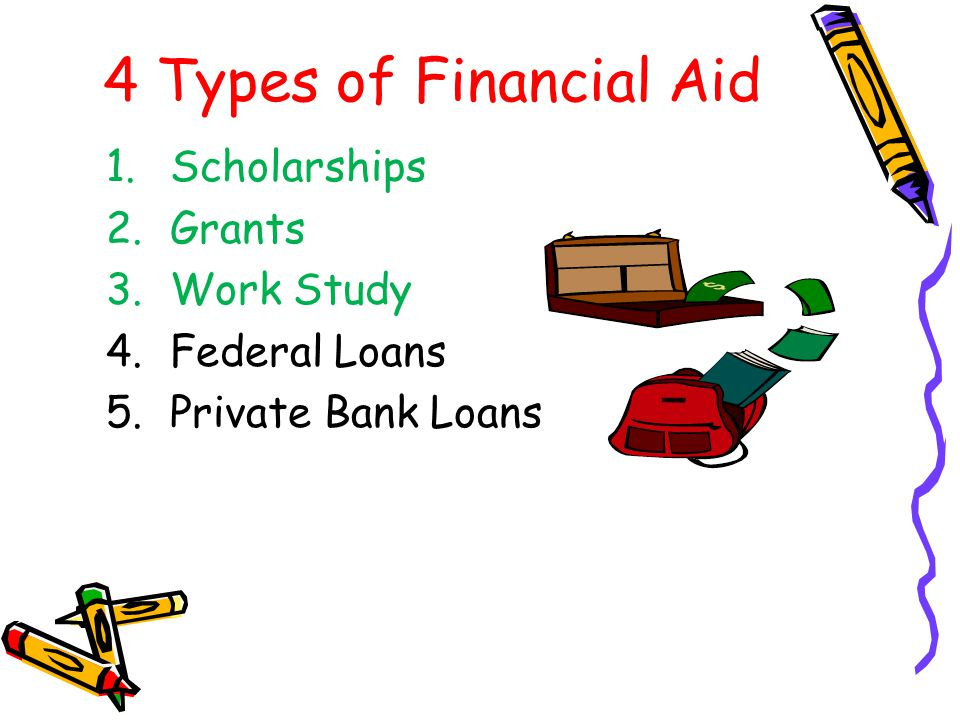 4 Types of Financial Aid Scholarships Grants Work Study Federal Loans