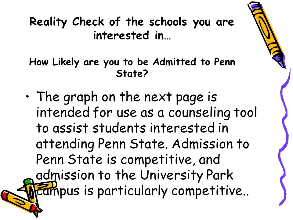 Reality Check of the schools you are interested in… How Likely are you to be Admitted to Penn State