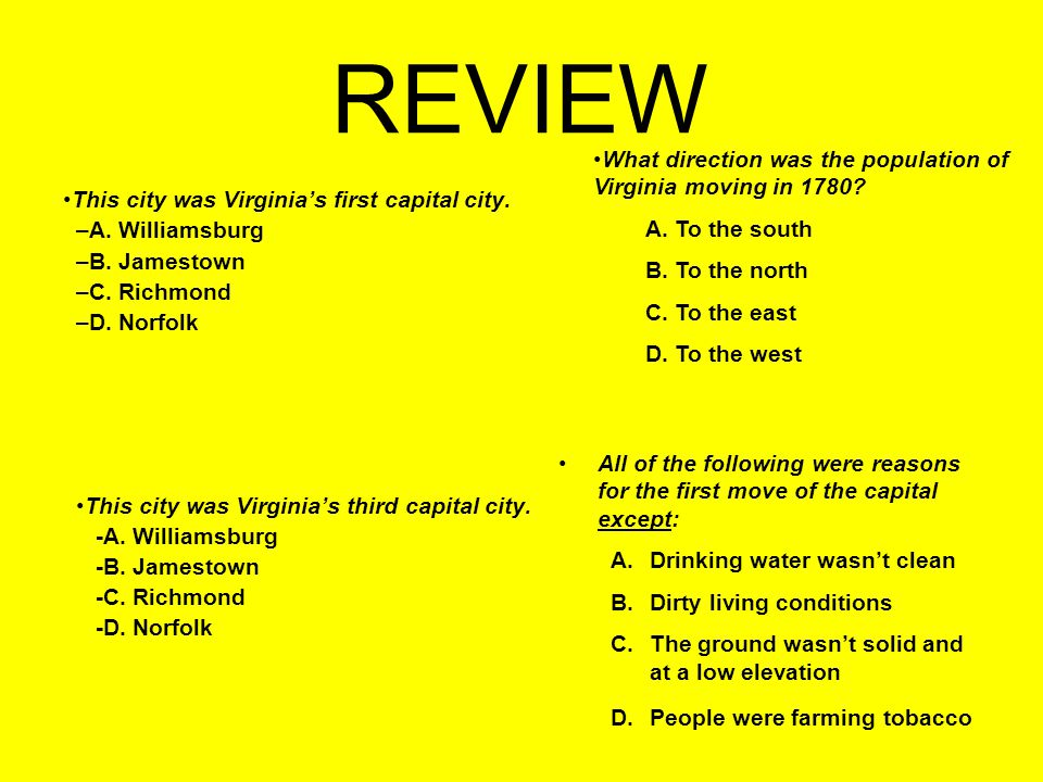 REVIEW What direction was the population of Virginia moving in 1780