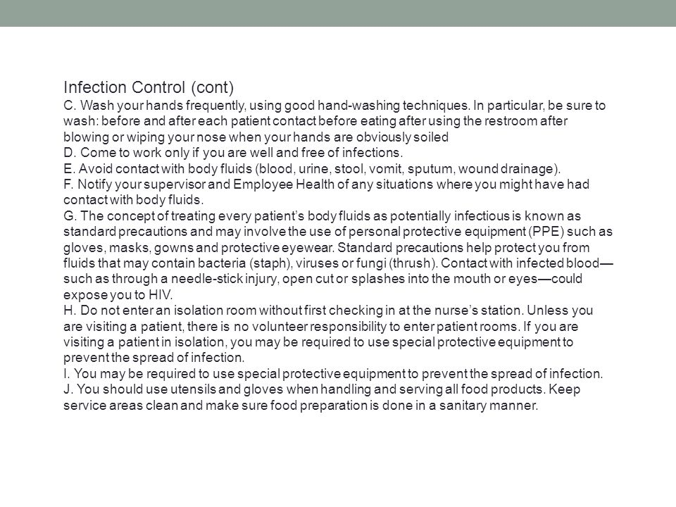 Infection Control (cont)