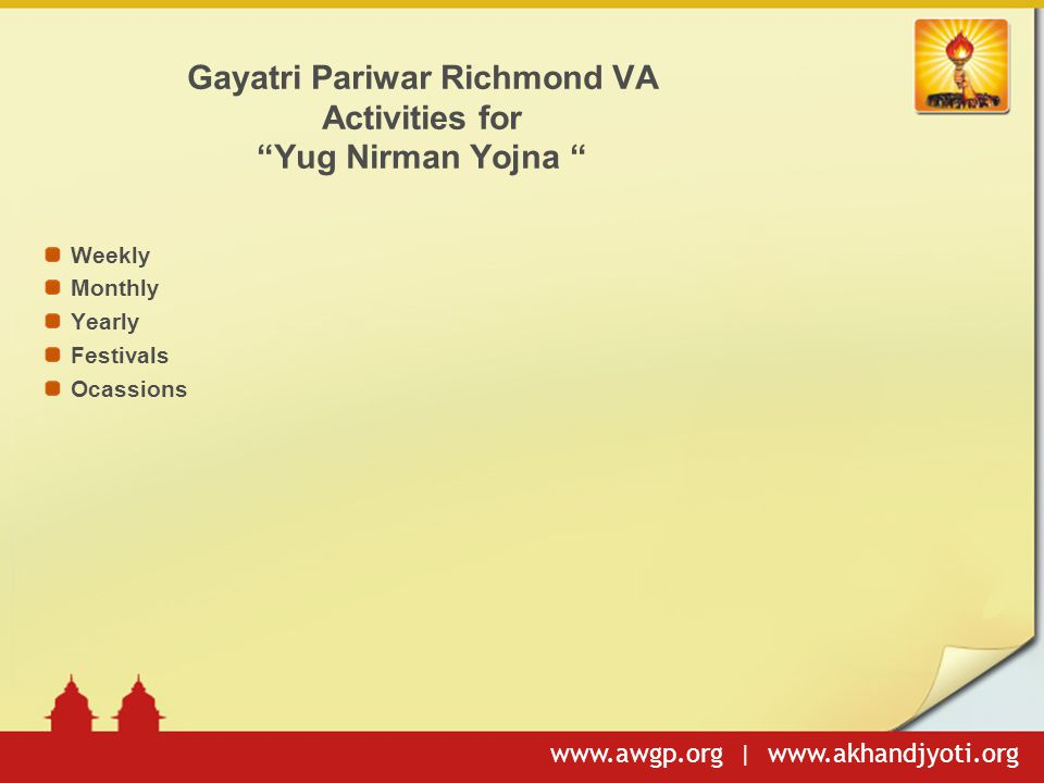 Gayatri Pariwar Richmond VA Activities for Yug Nirman Yojna