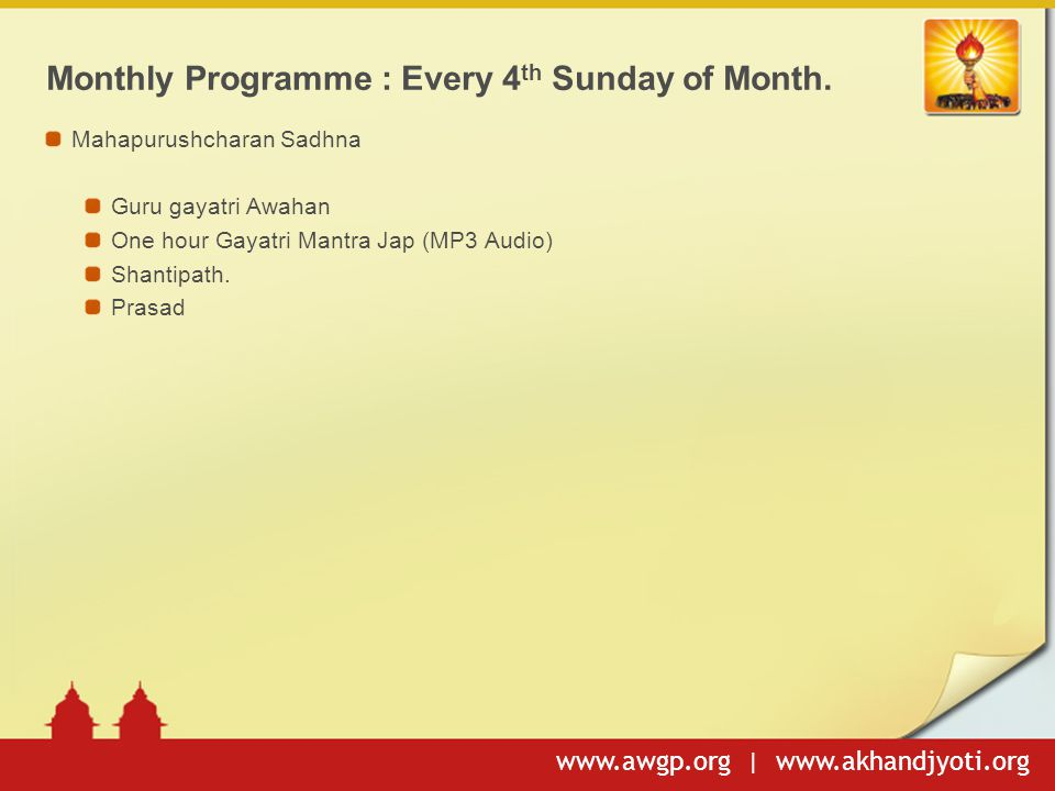 Monthly Programme : Every 4th Sunday of Month.