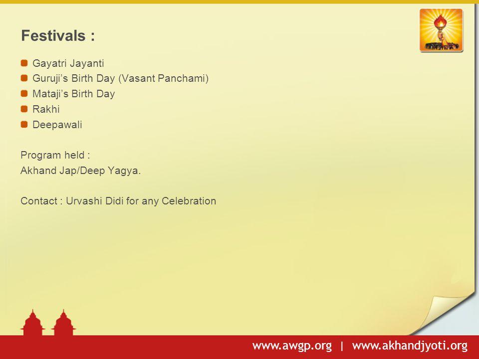 Festivals : Gayatri Jayanti Guruji's Birth Day (Vasant Panchami)