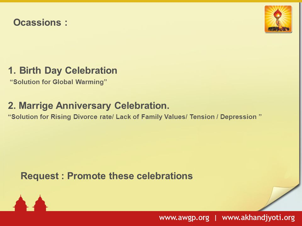 2. Marrige Anniversary Celebration.
