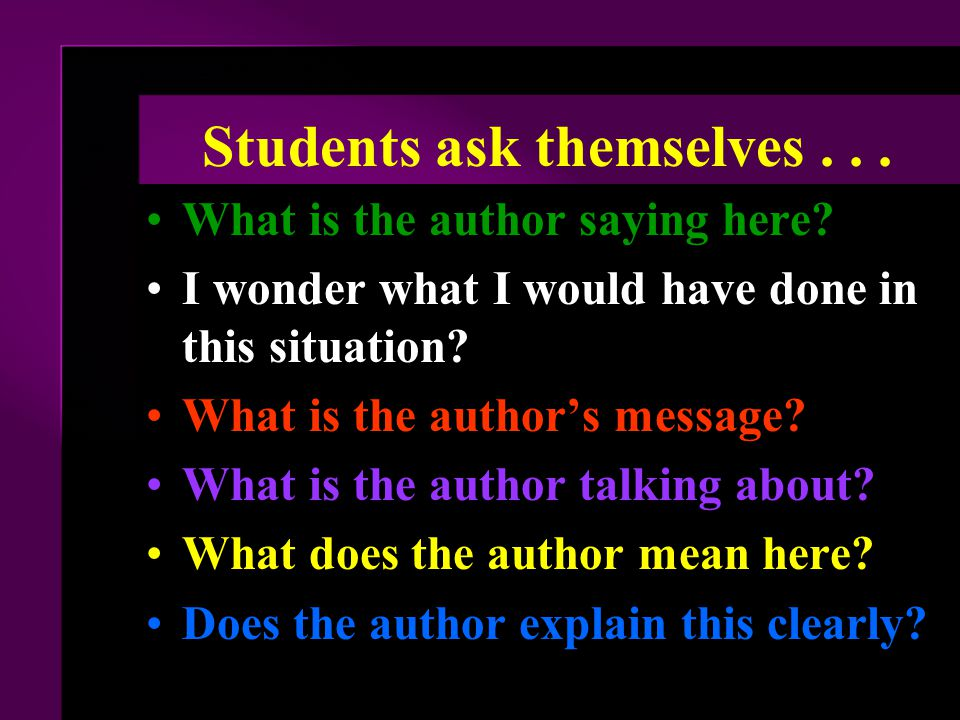 Students ask themselves . . .