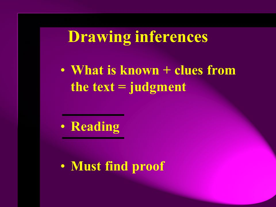 Drawing inferences What is known + clues from the text = judgment
