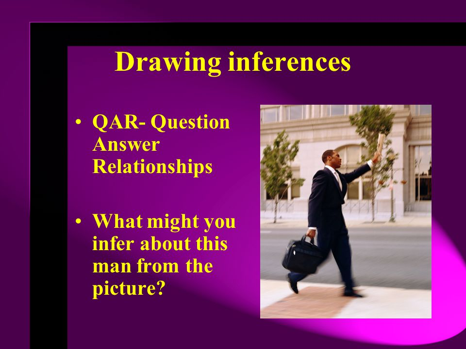 Drawing inferences QAR- Question Answer Relationships