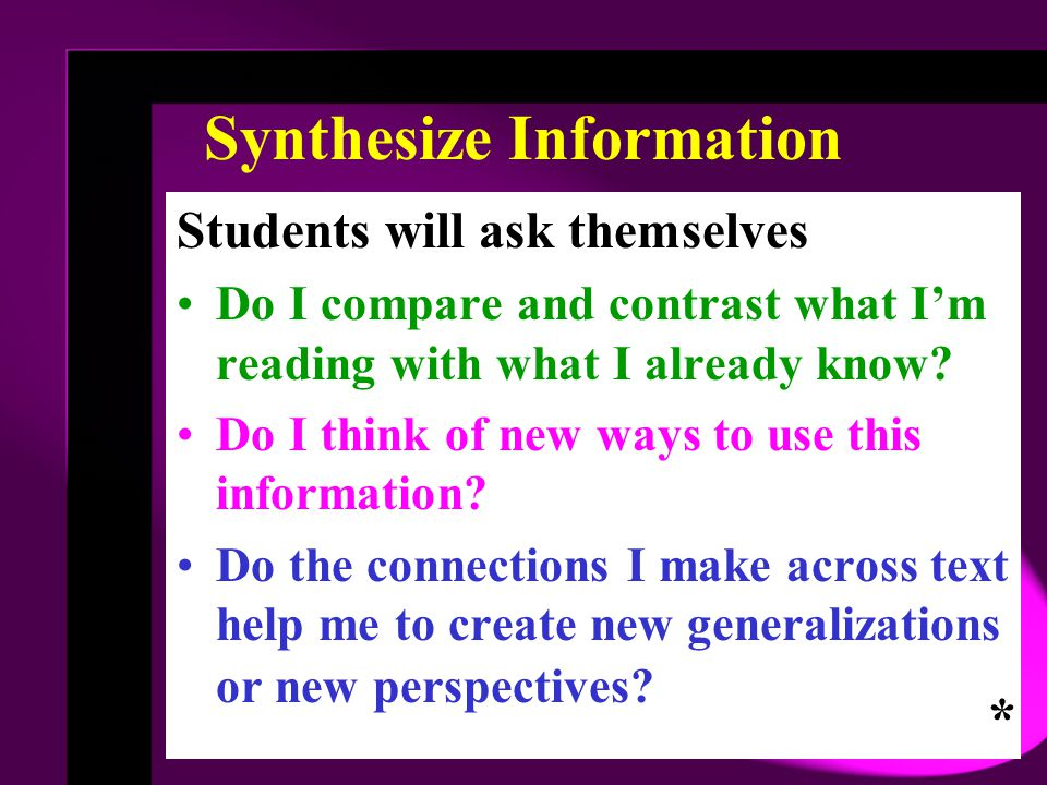 Synthesize Information