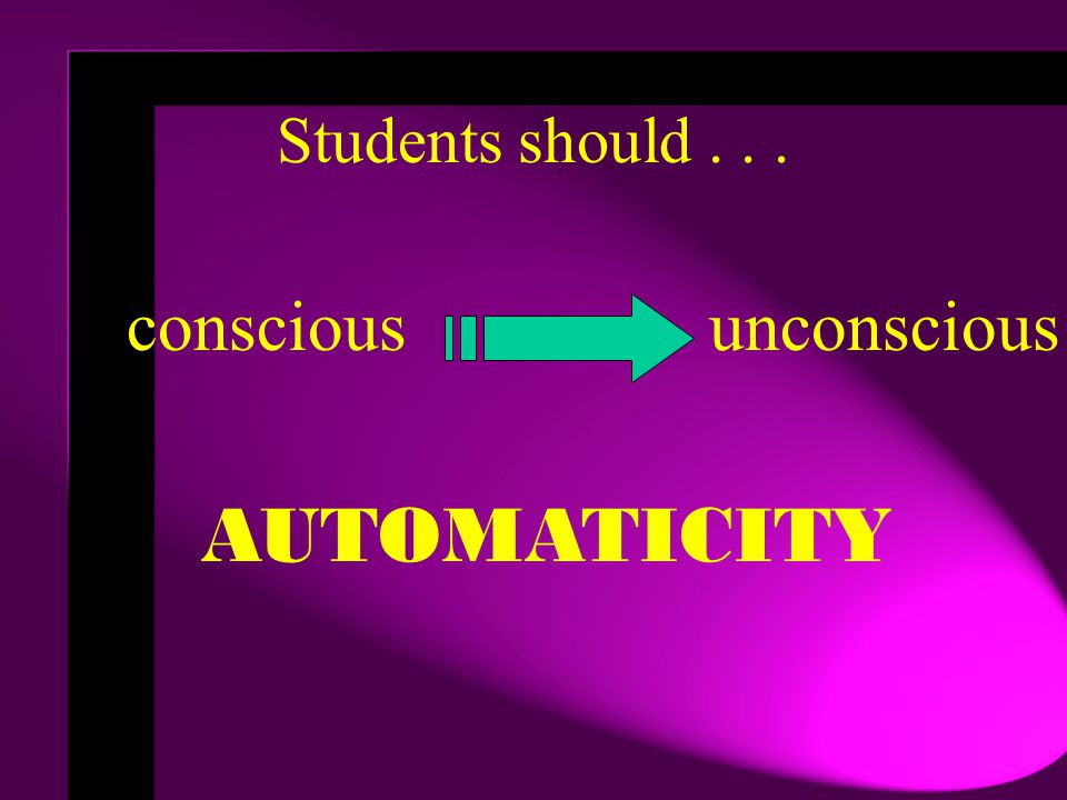 AUTOMATICITY conscious unconscious Students should . . .