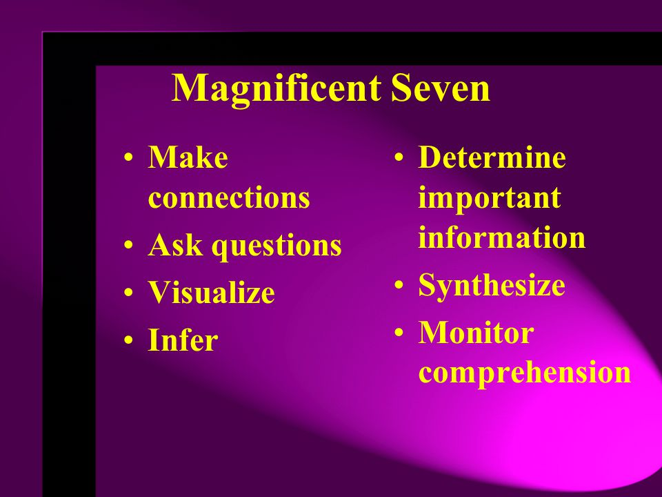 Magnificent Seven Make connections Ask questions Visualize Infer