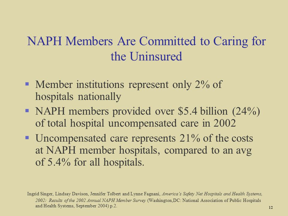 NAPH Members Are Committed to Caring for the Uninsured