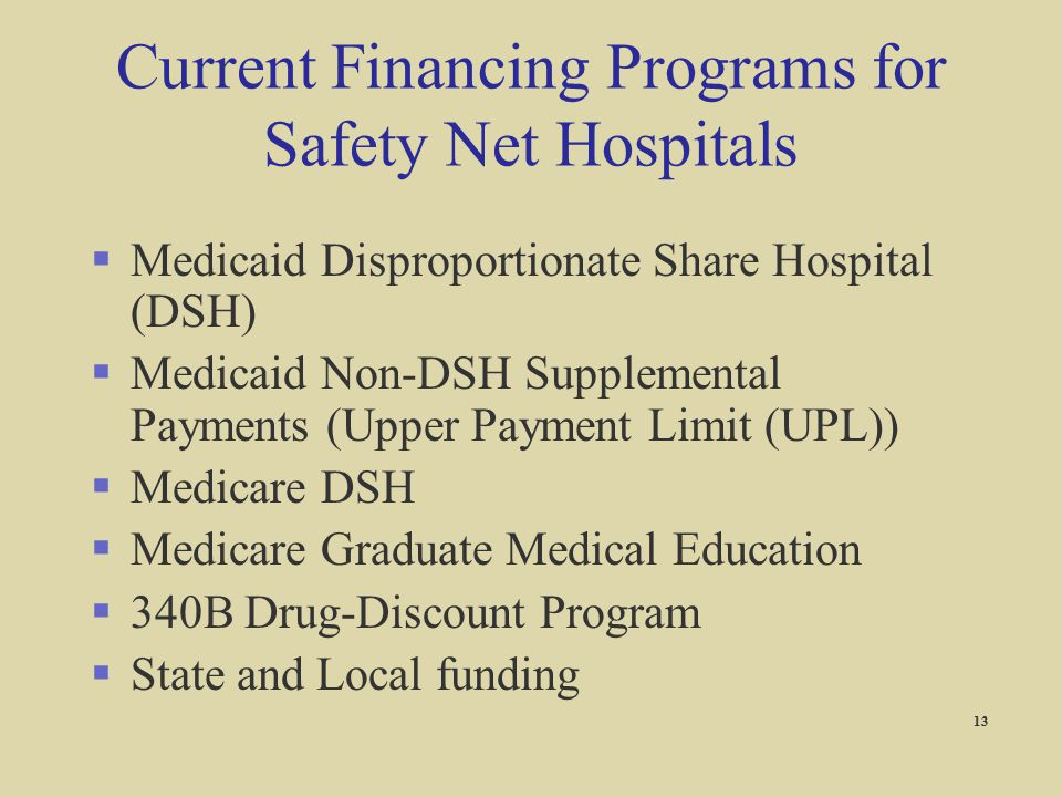 Current Financing Programs for Safety Net Hospitals