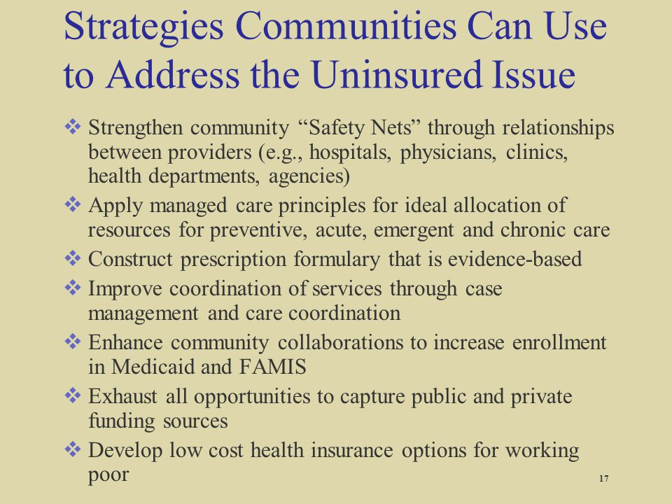 Strategies Communities Can Use to Address the Uninsured Issue