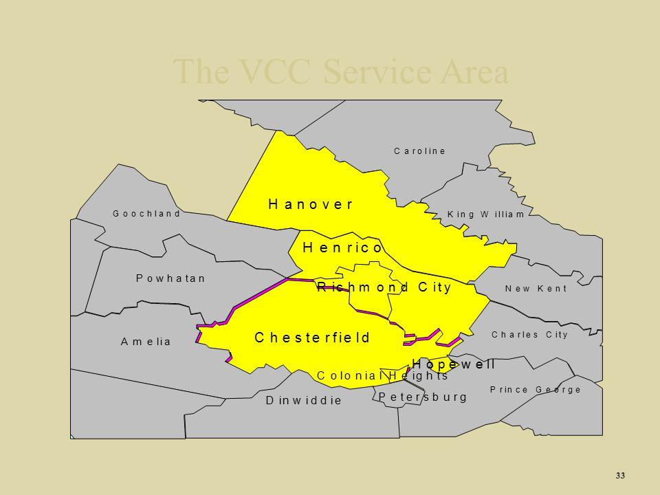 The VCC Service Area c H v f R h m d t y p w g s P b u D A 33 C a r o