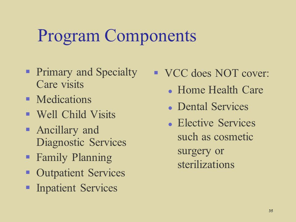 Program Components Primary and Specialty Care visits Medications