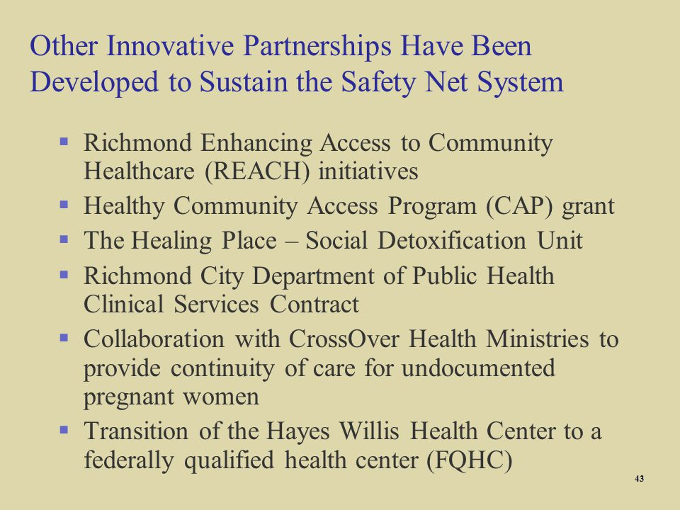 Other Innovative Partnerships Have Been Developed to Sustain the Safety Net System