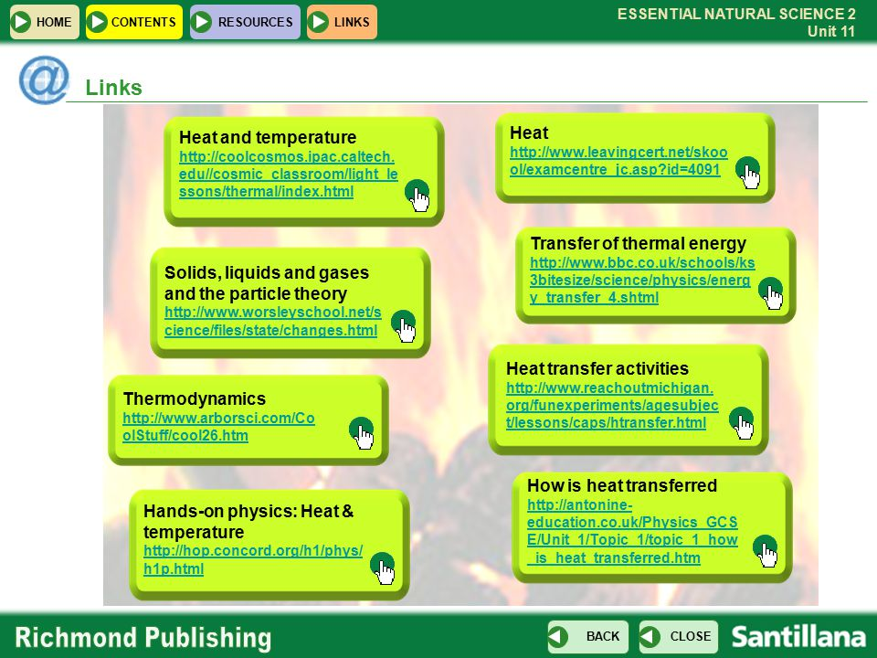Links Heat Heat and temperature Transfer of thermal energy