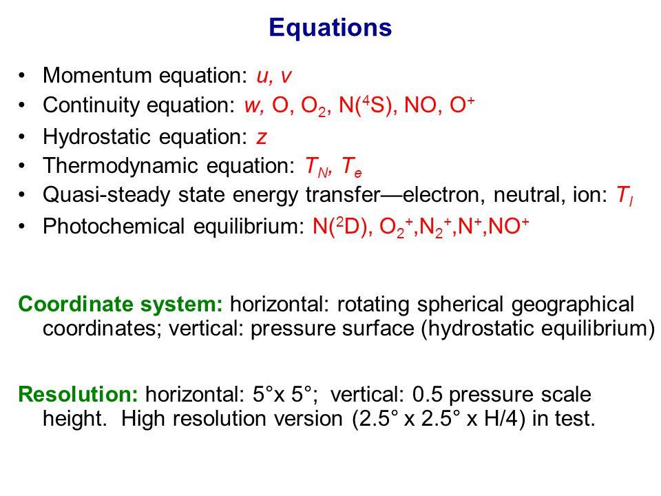 Equations Momentum equation: u, v