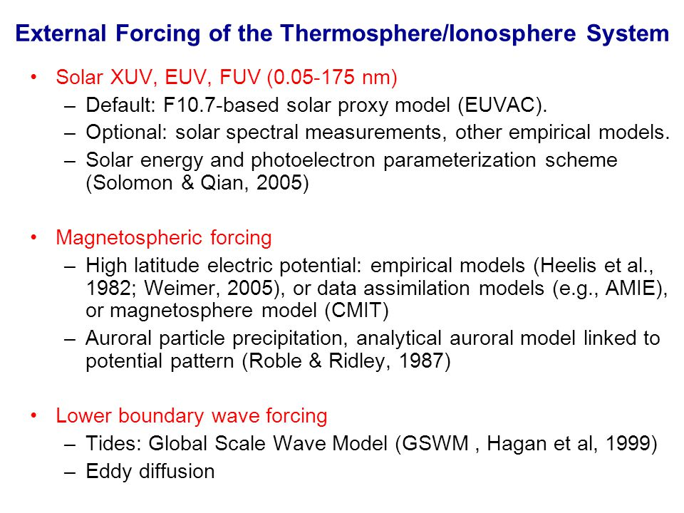 External Forcing of the Thermosphere/Ionosphere System