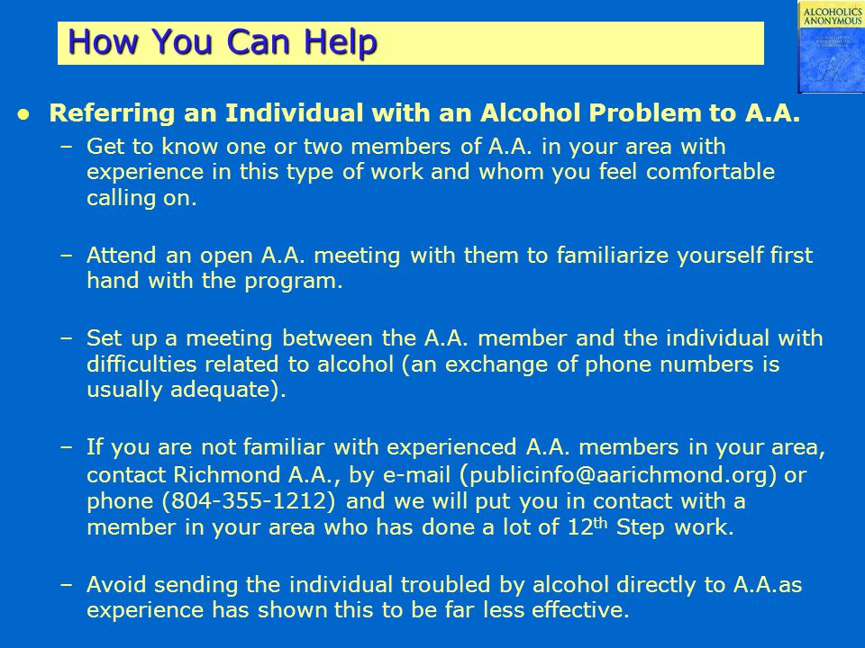 How You Can Help Referring an Individual with an Alcohol Problem to A.A.