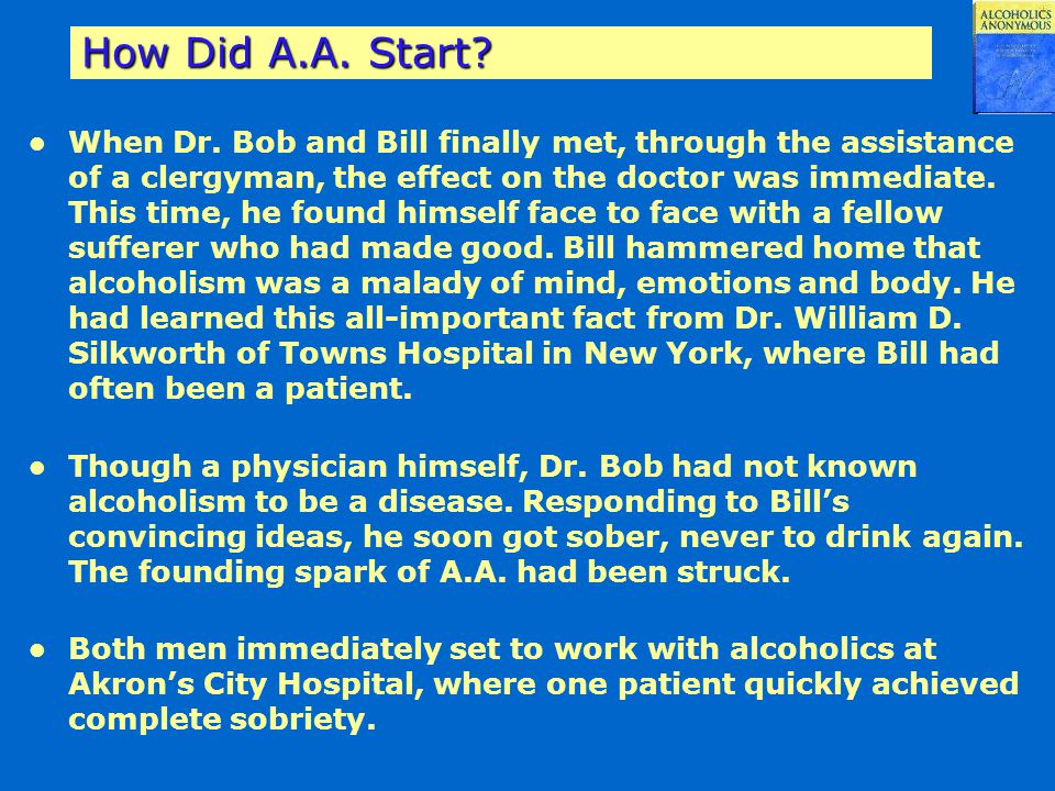 How Did A.A. Start