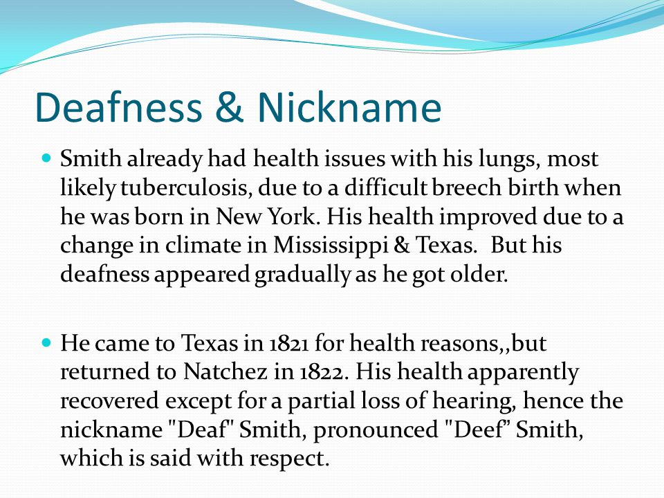 Deafness & Nickname