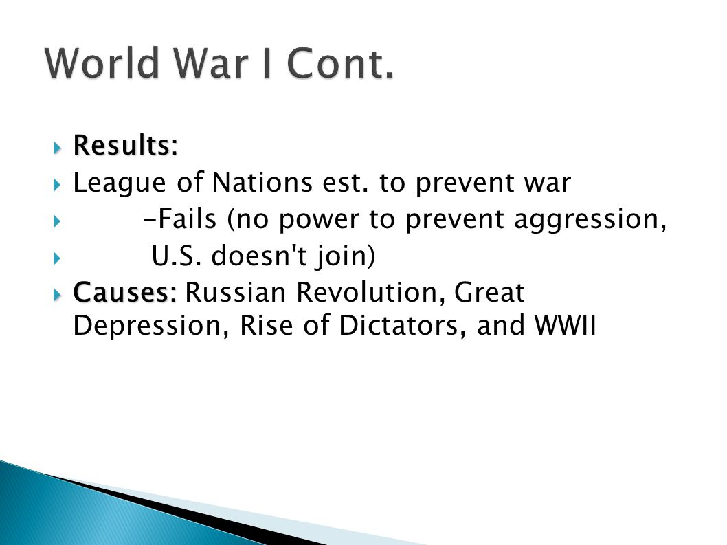 World War I Cont. Results: League of Nations est. to prevent war