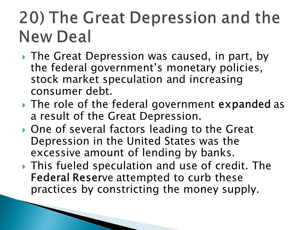 the factors that caused the great depression in the united states The better explanation of the great depression revealed it was not caused by unfettered market forces there is nothing in the operation of free markets that would create depressions or even recessions.