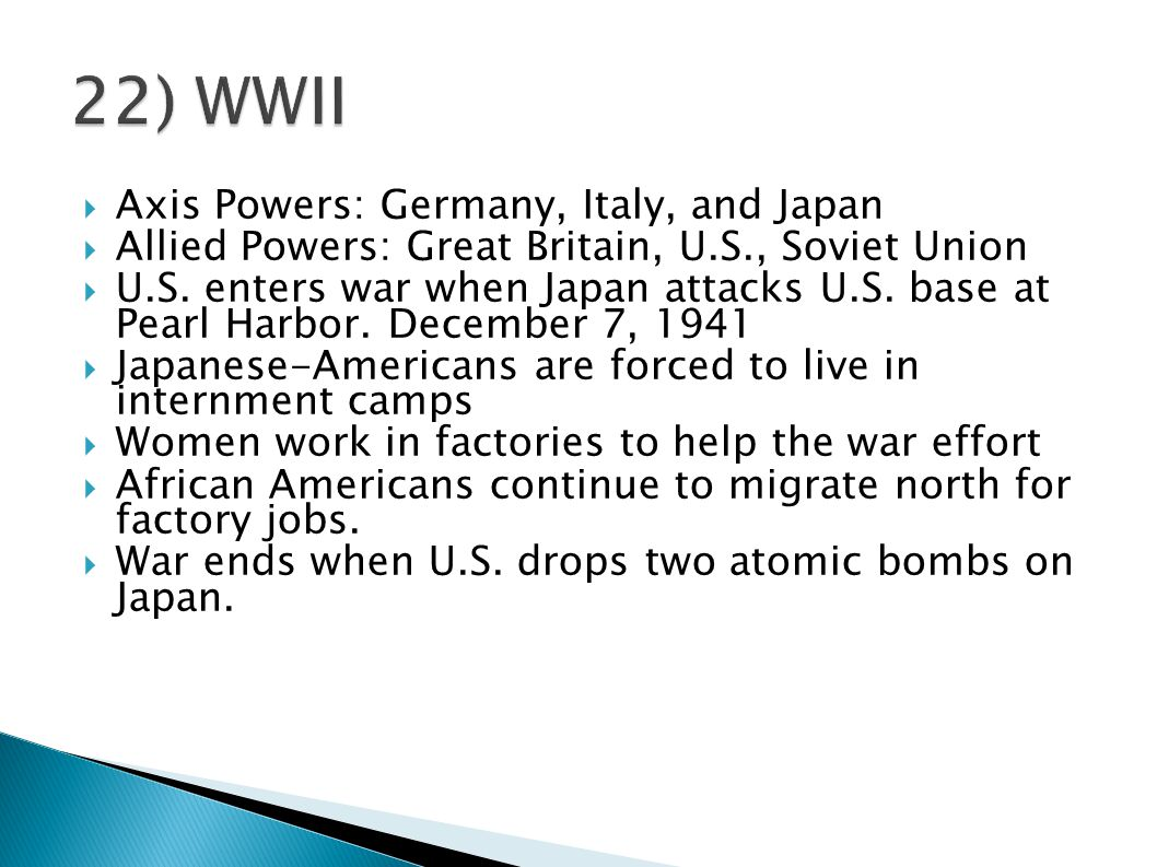 22) WWII Axis Powers: Germany, Italy, and Japan