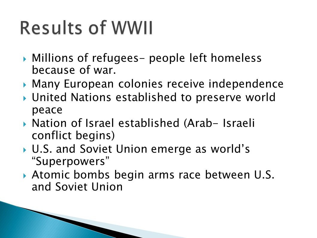 Results of WWII Millions of refugees- people left homeless because of war. Many European colonies receive independence.