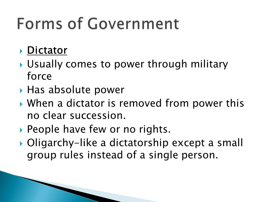 Forms of Government Dictator