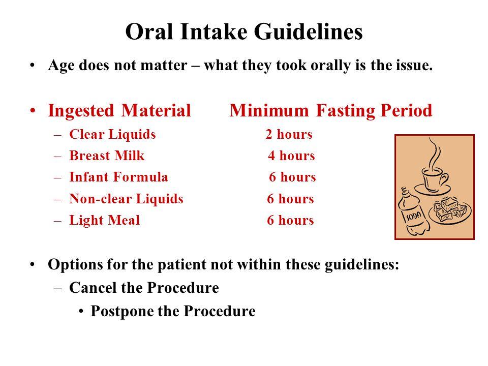 Oral Intake Guidelines