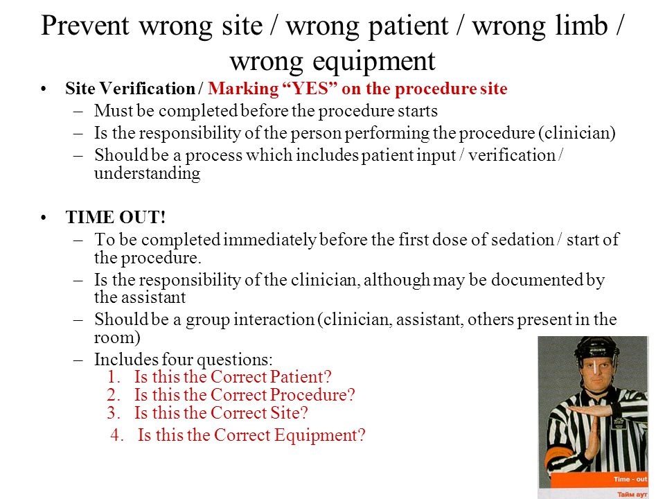 Prevent wrong site / wrong patient / wrong limb / wrong equipment