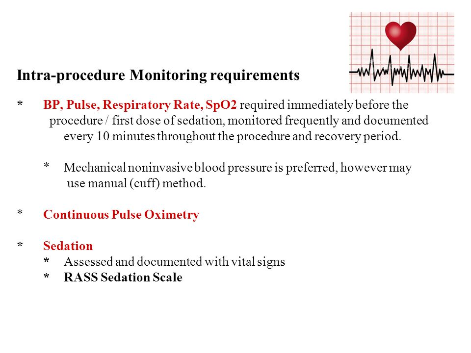 Intra-procedure Monitoring requirements